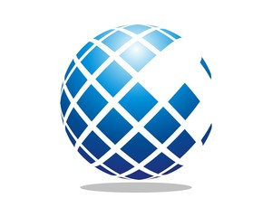 abstract 3D square sphere logo