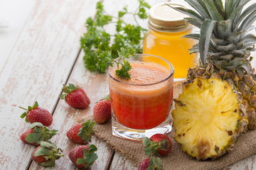 Pineapple and Strawberry mix juice