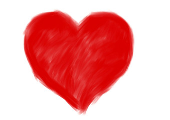 red big heart shape. drawing