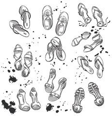 Set of summer footwear. Fashion illustration