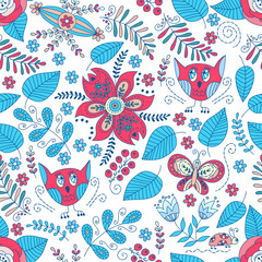 Cute forest vector seamless pattern. Back and white.