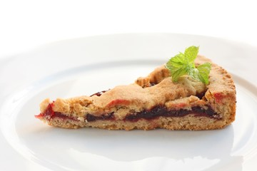 Homemade Linzer tart made from almond pastry