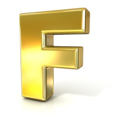 Golden font collection letter - F. 3D render illustration