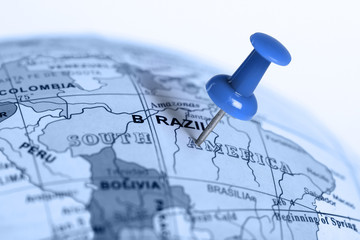 Location Brazil. Blue pin on the map.