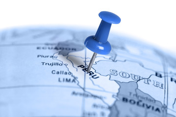 Location Peru. Blue pin on the map.