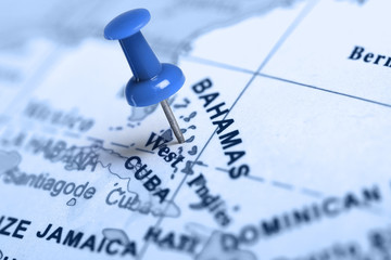 Location Bahamas. Blue pin on the map.