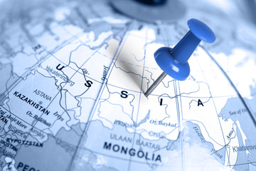 Location Russia. Blue pin on the map.