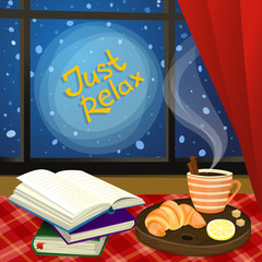 Vector illustrationwith tea and books. Winter card design.