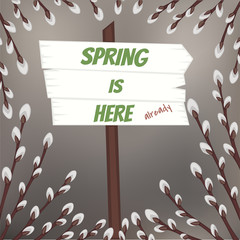 Spring design with pussy willow branches and wooden sign