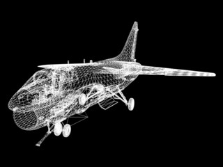 3d Wire Frame sketch of F-16 hornet