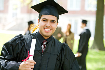 Graduation: Hispanic Student Happy to Graduate