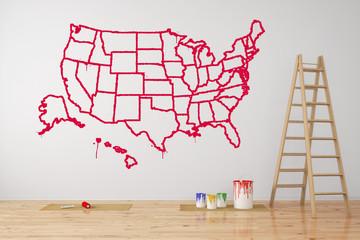 Karte der USA mit Bundesstaaten an der Wand