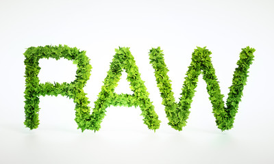 Raw food text sign