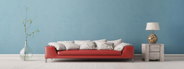 Panorama von Wohnzimmer mit Sofa vor Wand