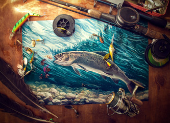 Printed kitchen splashbacks Fishing Illustration about fishing, surrounded by fishing accessories.