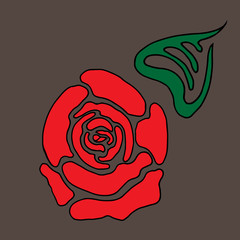 Red stylized rose with leaf