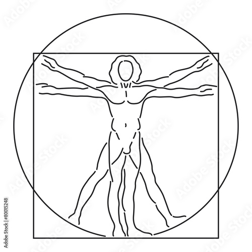 Leonardo Da Vinci Vitruvian Man, human anatomy, Vector Line Art ...