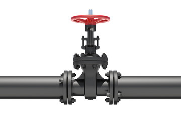 Black industrial valves and pipe