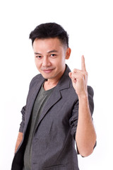 man raising, showing 1 finger, pointing up