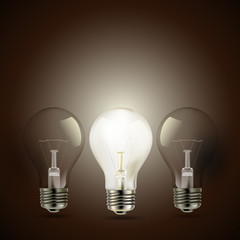 light bulbs on brown background