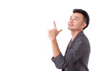 man pointing up to blank space