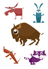 Comic cartoon funny animals set for design