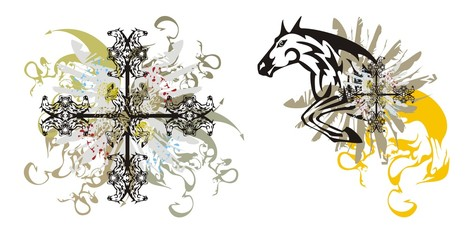 Abstract tribal horse cross with splashes and horse splashes