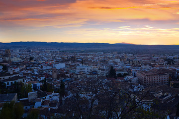 Granada in sunset from mount