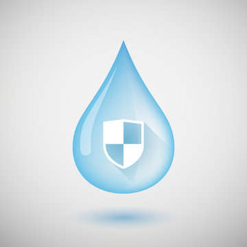 Water drop with a shield
