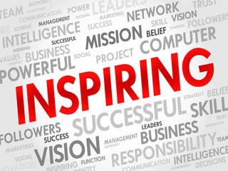 INSPIRING word cloud, business concept