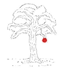 Tree and red apple