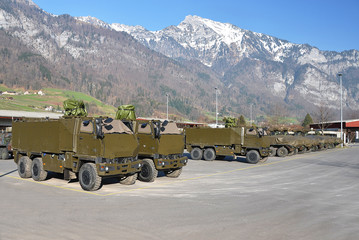 Armoured fighting vehicle. Military base in Switzerland