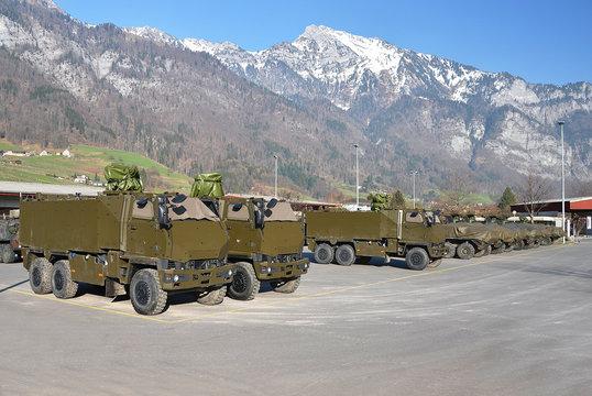 Armoured fighting vehicle. Military base in Switzerland