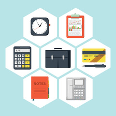 Flat icons vector collection of business objects.
