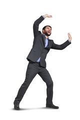 yelling businessman holding