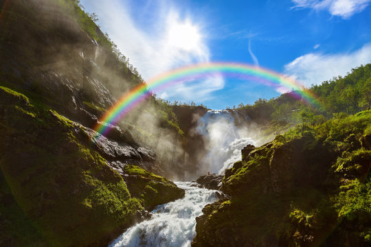 Giant Kjosfossen waterfall in Flam - Norway