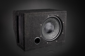 Black subwoofer speaker car audio music system