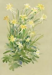 Watercolor flowers on beige background