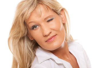 Portrait mature business woman isolated