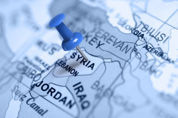 Location Syria. Blue pin on the map.