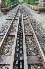 Narrow gauge rack and pinion mountain railway, Snowdon, Wales.