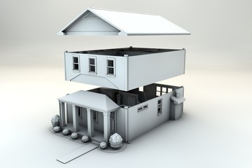 residential house. three-dimensional image