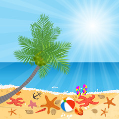 Coconut trees on the beach and sun shining