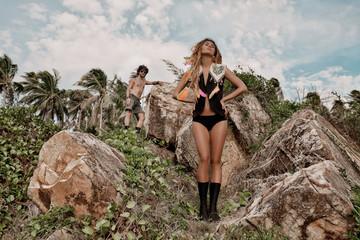 beautiful girl on the stone beach in Phangan
