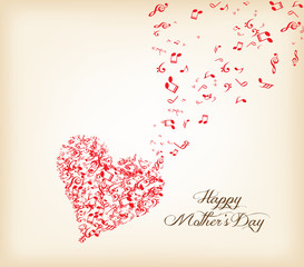 hearts shape out of music flies mothers's day