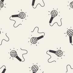 doodle microphone seamless pattern background