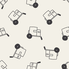 Doodle carts seamless pattern background