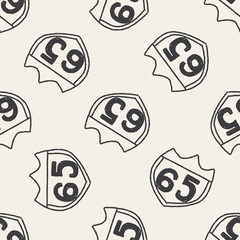 doodle signs seamless pattern background