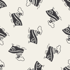 doodle Steamship seamless pattern background