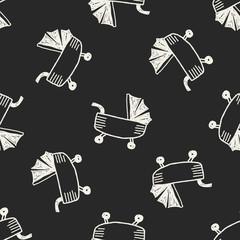 Doodle stroller seamless pattern background